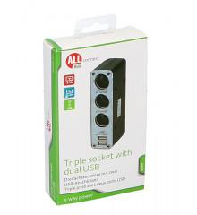 ALLRIDE Connect Roztrojka + 2 USB 3,1 A