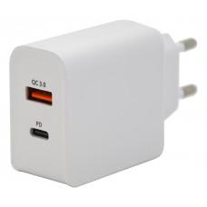 Zástrčka QUICK CHARGE 3.0 230V USB-A / USB-C 18W