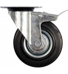 Kolečko otočné s brzdou, gumové 60kg 100/27/130mm