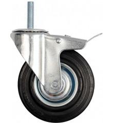 Kolečko otočné s brzdou, gumové se šroubem 60kg 100/26/130mm
